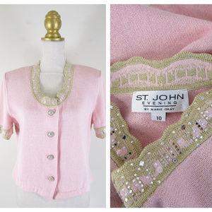 St. John Evening Pink Embellished Sweater Cardigan